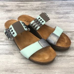 NAOT blue and grey slide on sandals